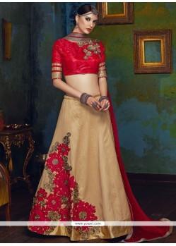 Charismatic Fancy Fabric Cream And Red Lehenga Choli