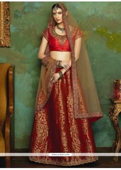 Excellent Jacquard Red Lehenga Choli