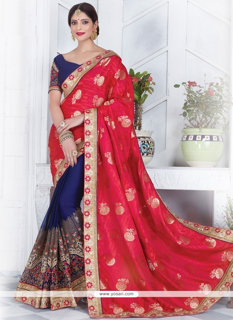 ea9e0acb8204 Buy Celestial Art Silk Navy Blue And Red Half N Half Saree