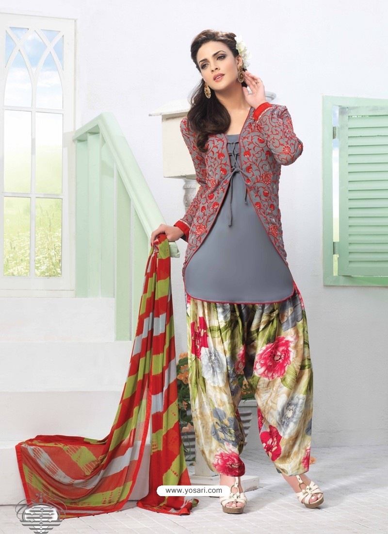 Multicolor Georgette Punjabi Patiala Suit