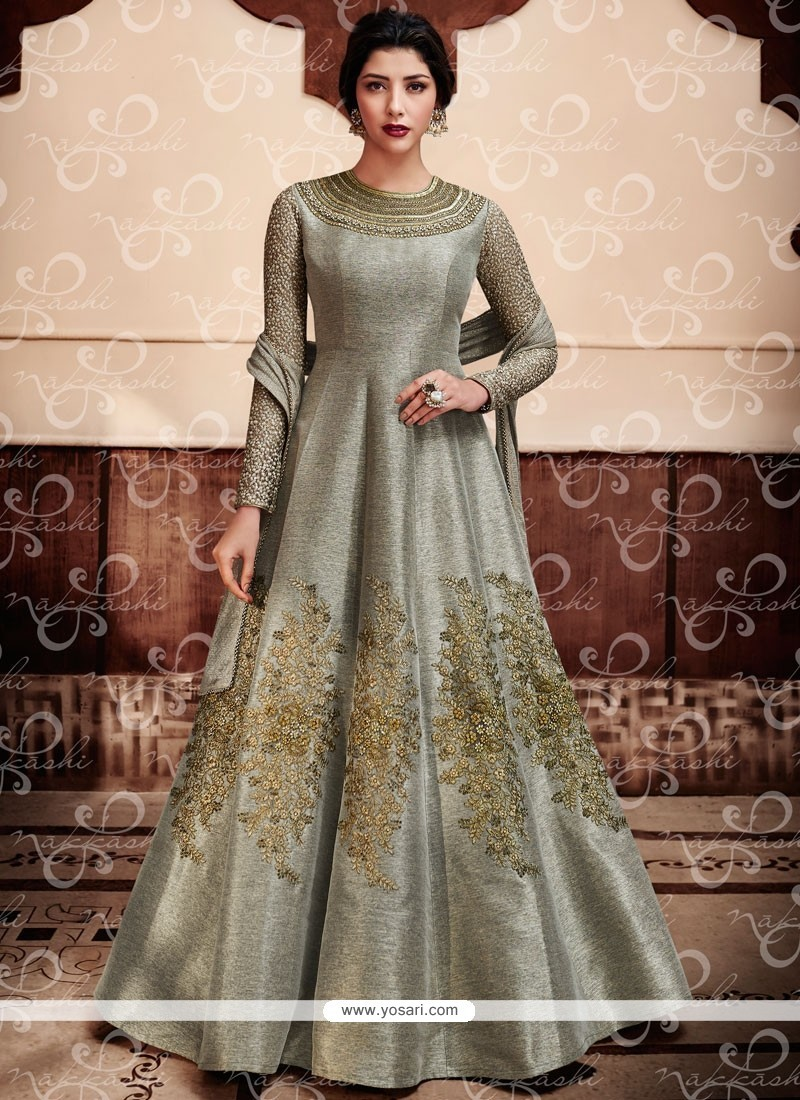 Buy Outstanding Embroidered Work Jute Silk Grey Anarkali Salwar ...