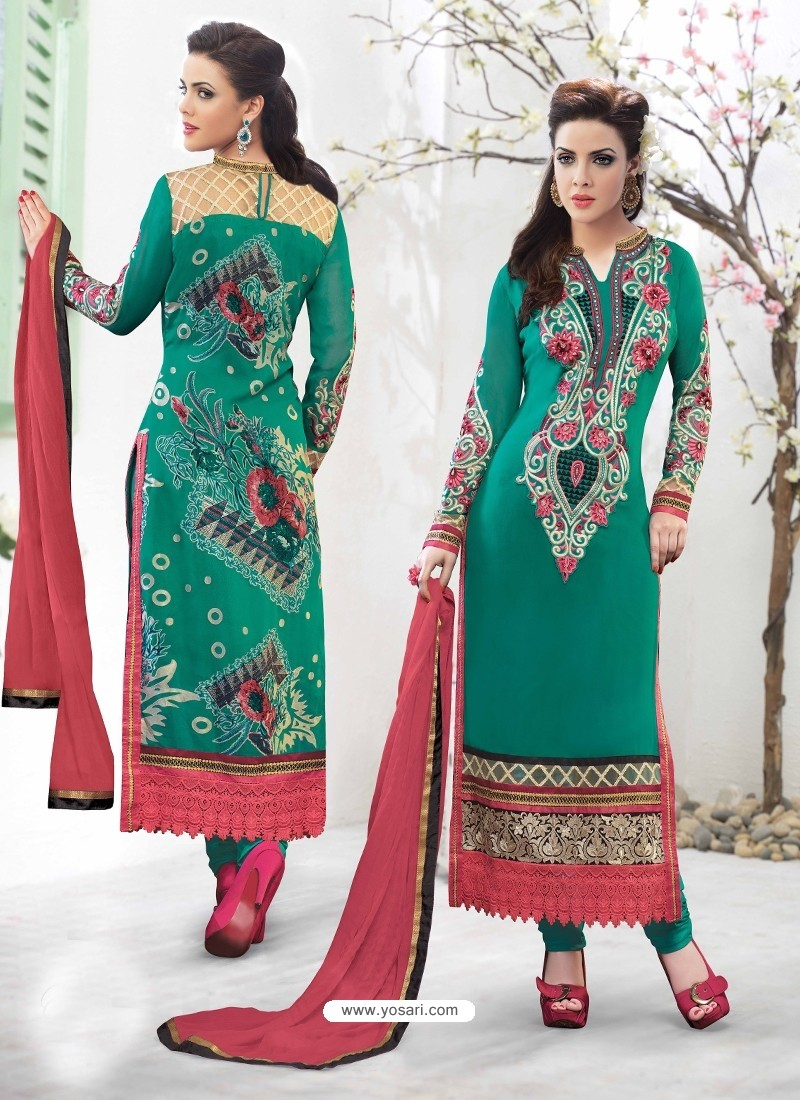 Green Georgette,Brasso Punjabi Suit