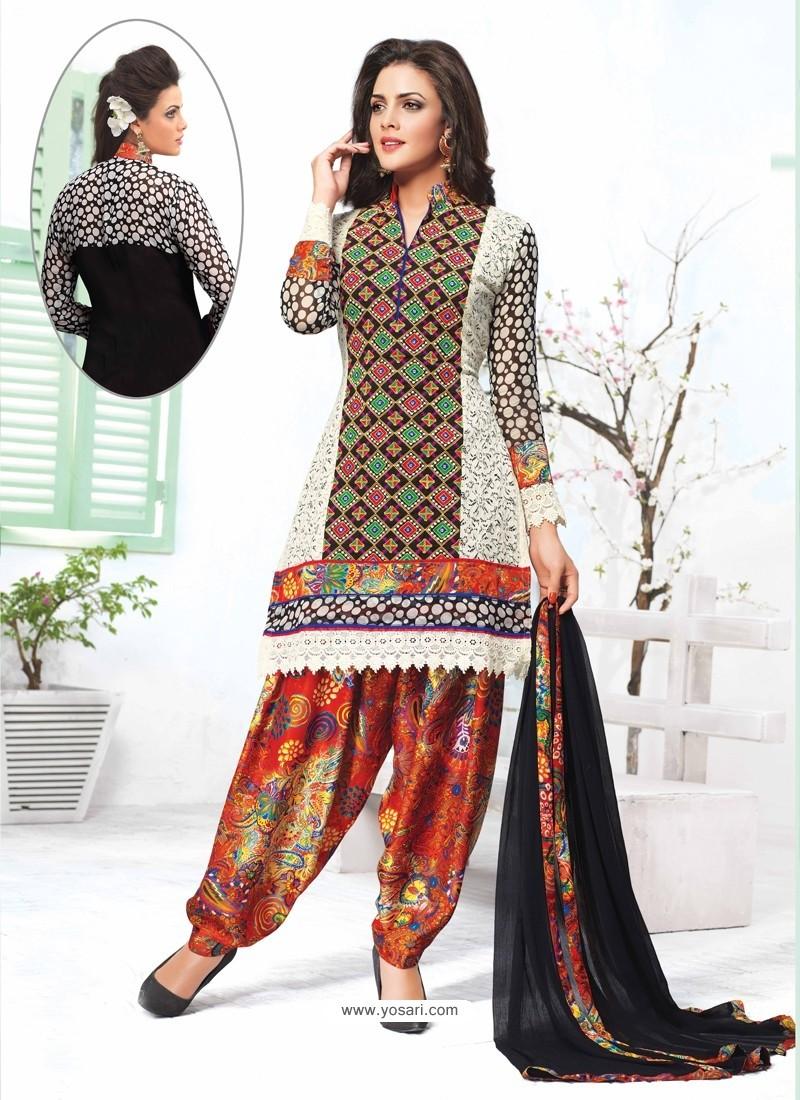 Multicolor Jacquard Punjabi Suit