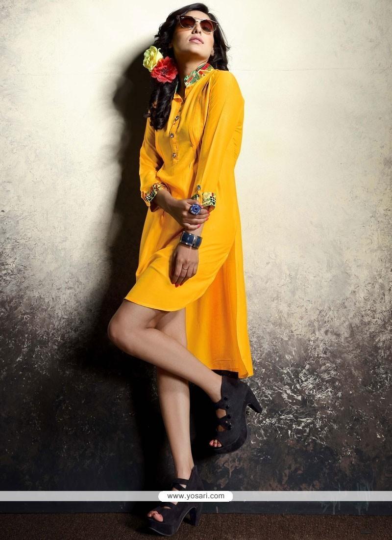5b6e424c18a Buy Latest Mustard Print Work Rayon Party Wear Kurti