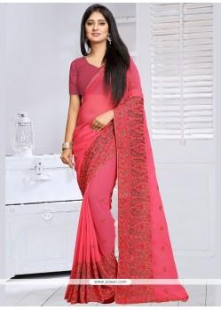 Deserving Pink Embroidered Work Designer Saree