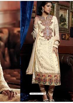 Cream Pure Georgette Punjabi Suit