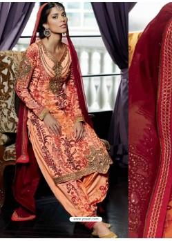 Peach Pure Georgette Punjabi Suit