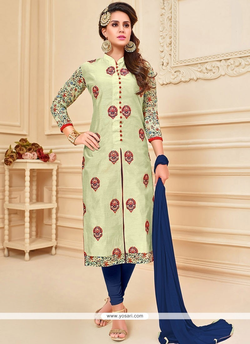 4f2fd3c4bd Buy Aspiring Sea Green Lace Work Churidar Suit | Churidar Salwar Suits