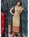 Cream Jacket Style Silk Punjabi Suits