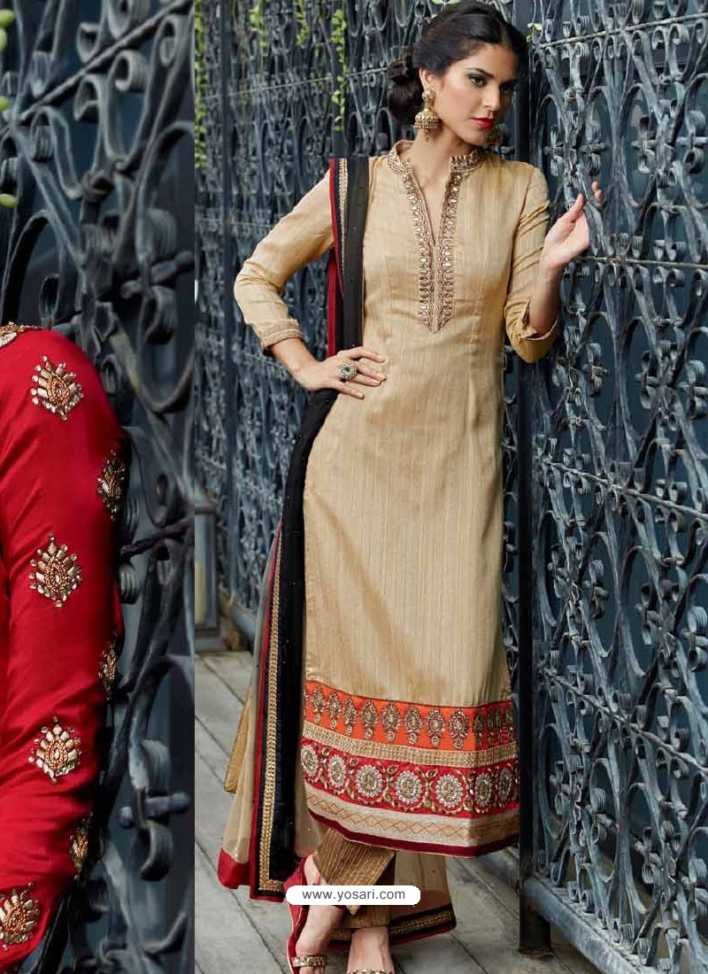 Cream Jacket Style Silk Punjabi Suits | Punjabi Suit online