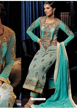 Cream And Blue Banarasi Silk Punjabi Suit