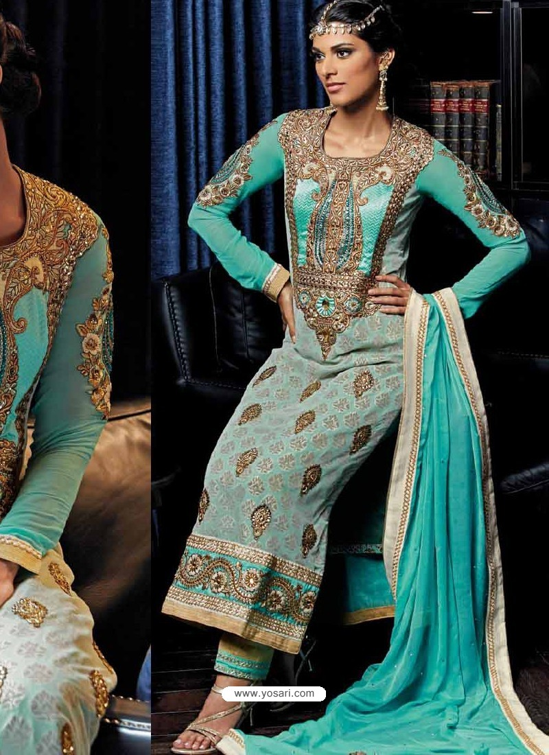 Cream And Blue Banarasi Silk Punjabi Suits