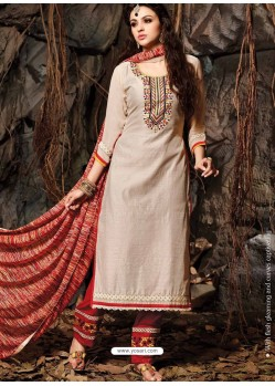Cream And Red Chanderi Party wear suit