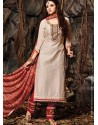 Cream And Red Chanderi Punjabi Suits