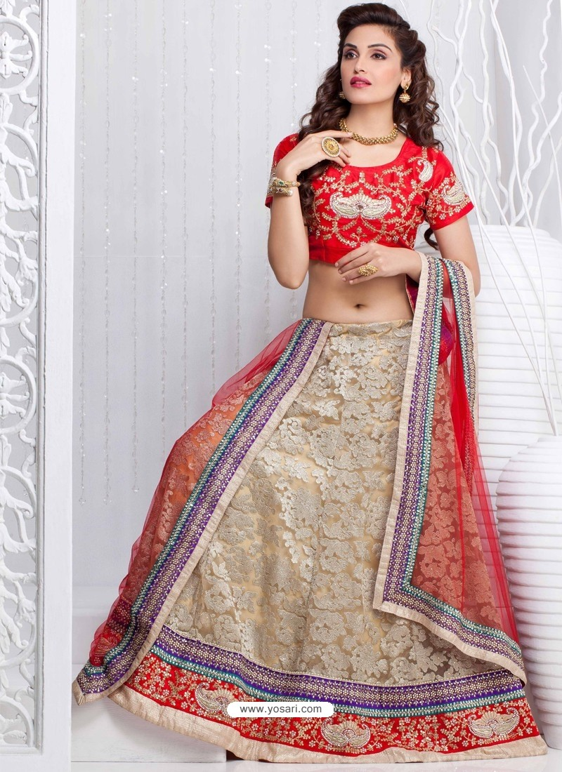 Red And Cream Net Designer Lehenga Choli