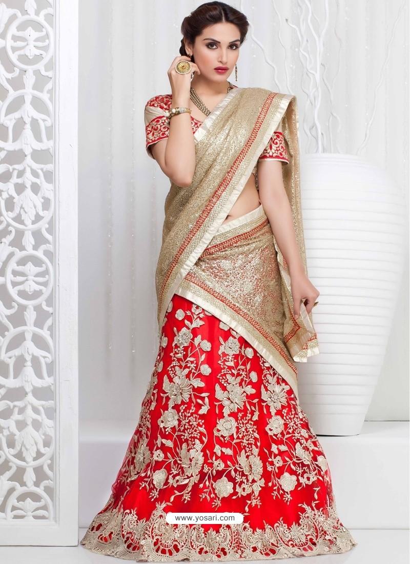Cream And Red Net Designer Lehenga Choli