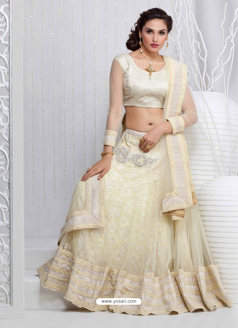 Off White Net Designer Lehenga Choli