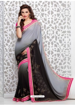 Black And Grey Georgette Party wear saree
