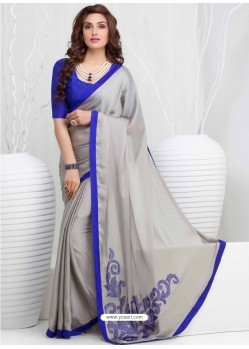 Grey And Blue Georgette Party wear saree