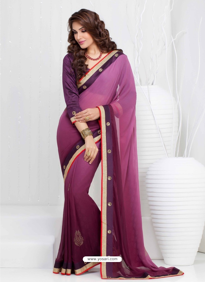 Meganta Georgette Satin Saree