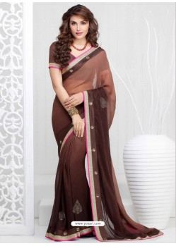 Brown Georgette Satin Saree