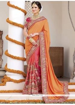 Mystical Fancy Fabric Orange And Rose Pink Designer Bridal Sarees