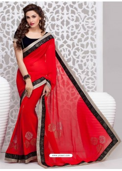 Red And Black Georgette Party wear saree