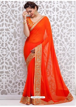 Orange Georgette Satin Saree