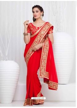 Red Georgette Satin Saree