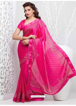 Pink Georgette Satin Saree