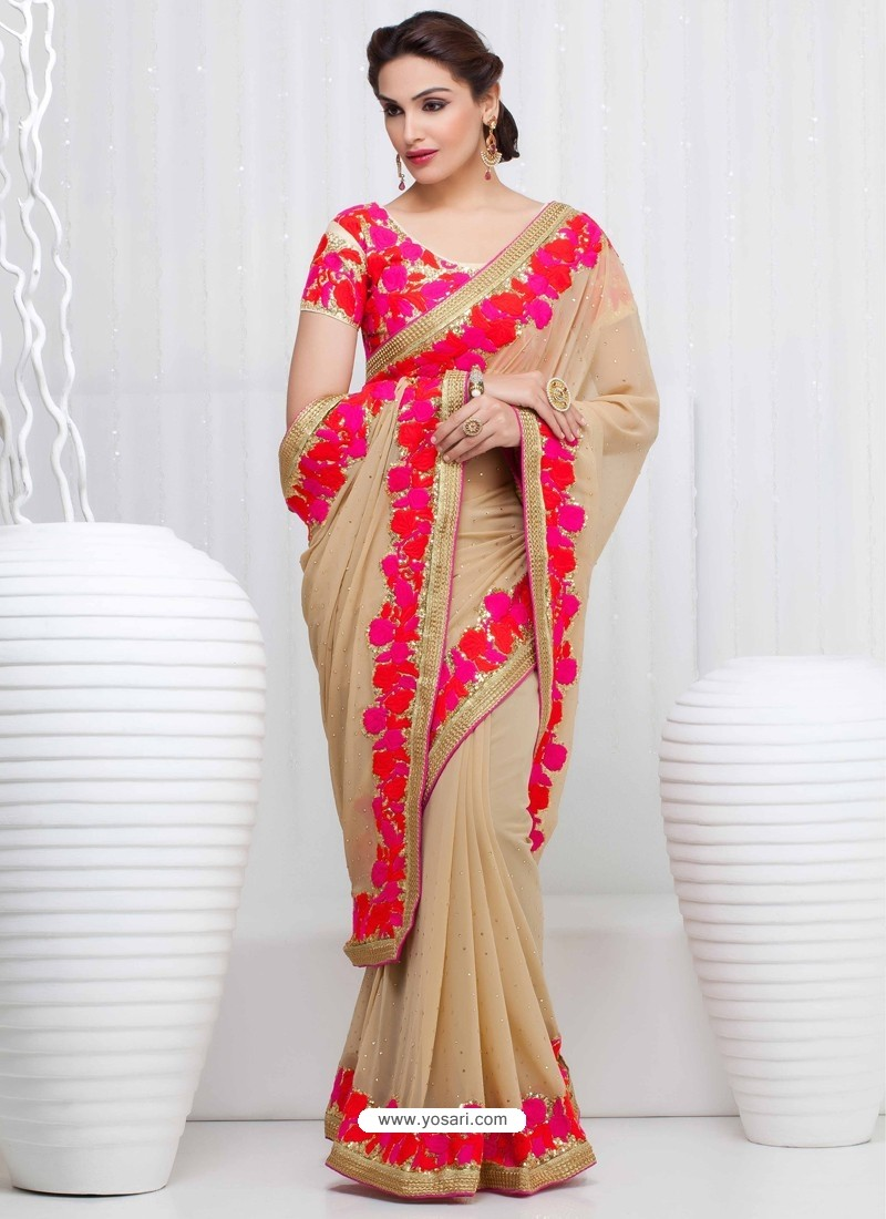 Cream Georgette Satin Saree