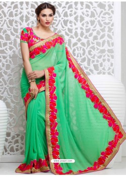 Green Georgette Satin Saree