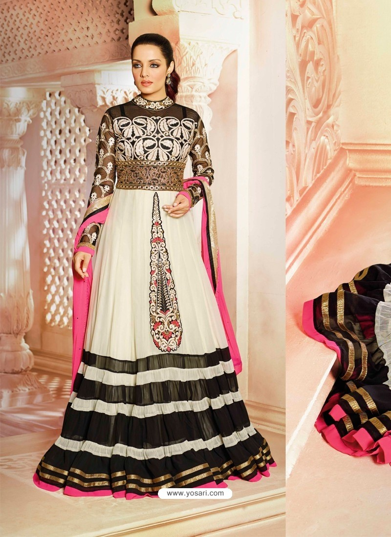 Off White And Black Georgette Anarkali Suit