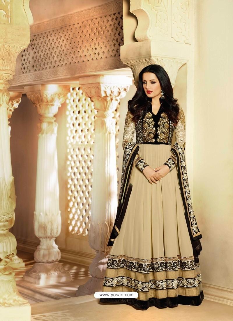 Cream And Black Georgette Anarkali Suit