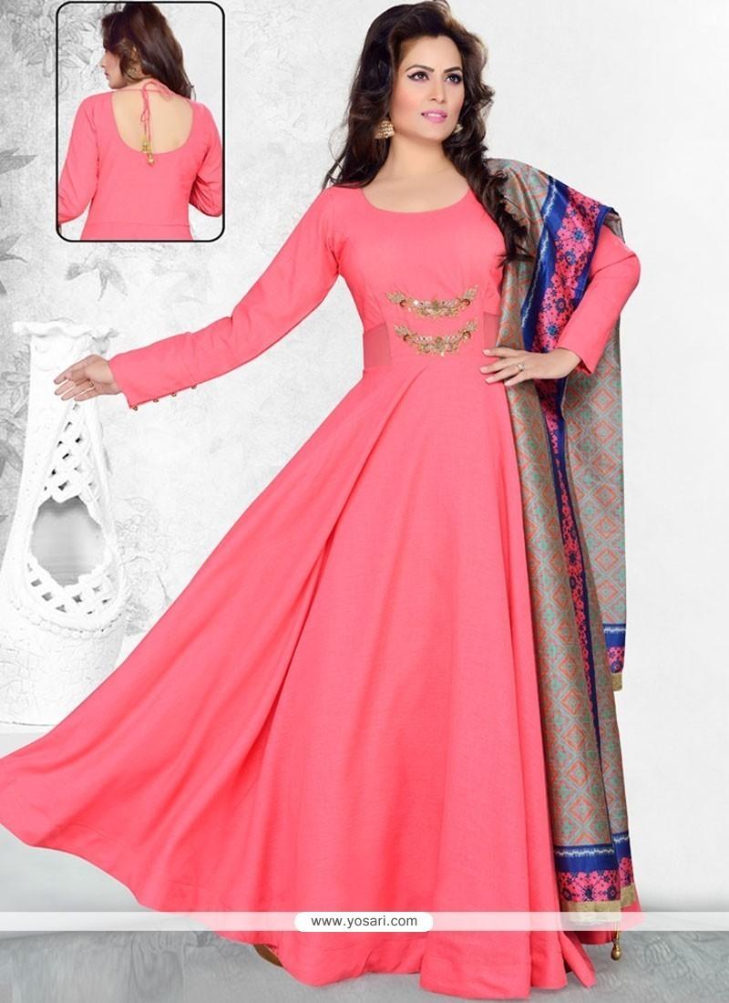 d34dfd7810 Buy Attractive Raw Silk Hot Pink Anarkali Suit | Anarkali Suits