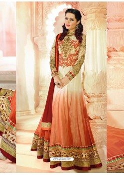 Orange And Cream Georgette Anarkali Suit