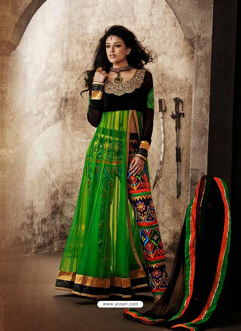 Black And Green Viscose and Net Anarkali Suit