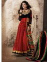 Black And Red Viscose and Net Anarkali Suit