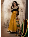 Mustard And Black Viscose and Net Anarkali Suit