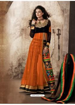 Orange And Black Viscose and Net Anarkali Suit