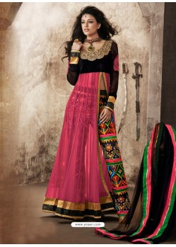Pink And Black Viscose and Net Anarkali Suit
