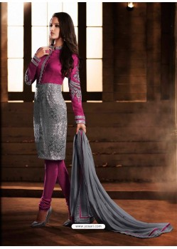 Pink And Grey Bhagalpuri Silk Churidar Suit