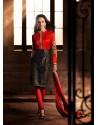 Red And Black Bhagalpuri Silk Churidar Suit