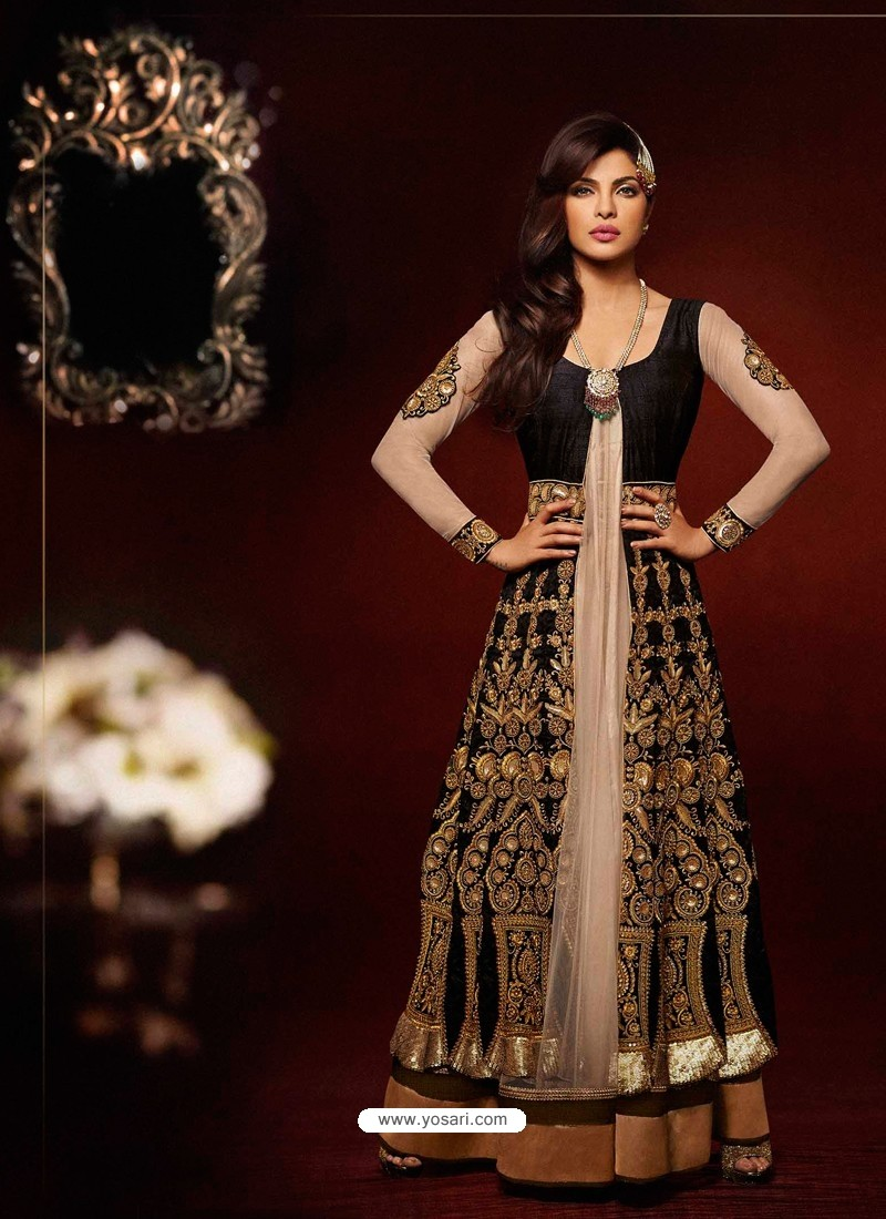Cream And Black Bhagalpuri Silk Anarkali Suit