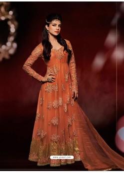 Orange Net Anarkali Suit