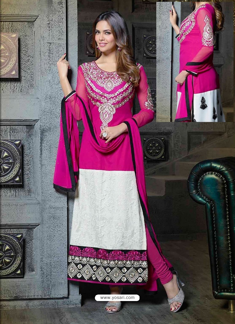White And Pink Georgette Churidar Suit