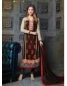 Brown Georgette Churidar Suit