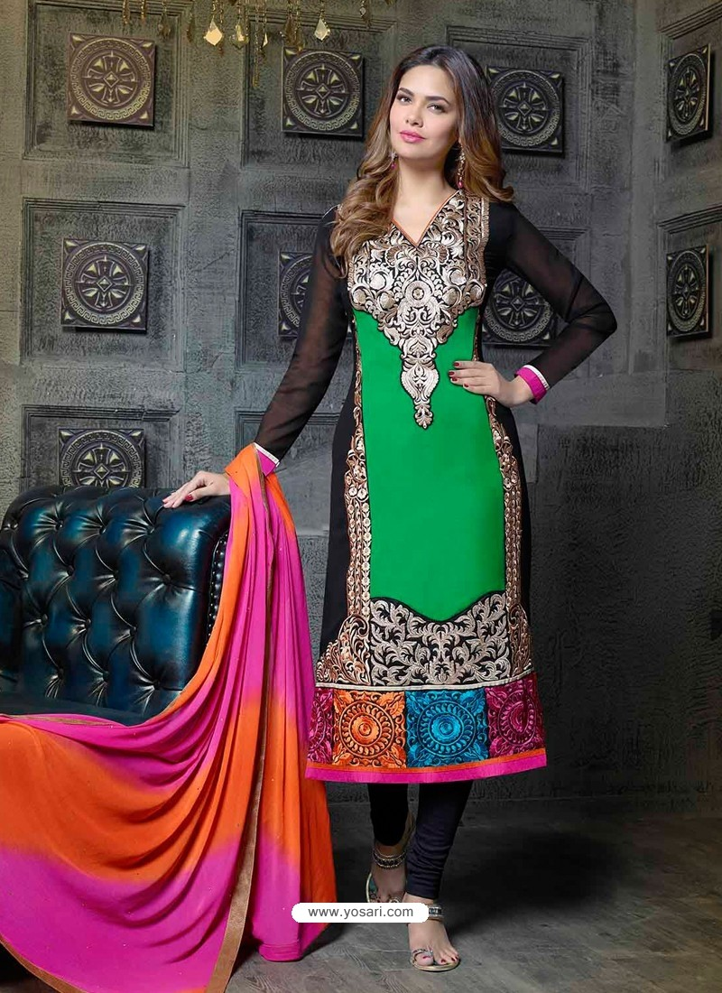 Multicolor Georgette Churidar Suit