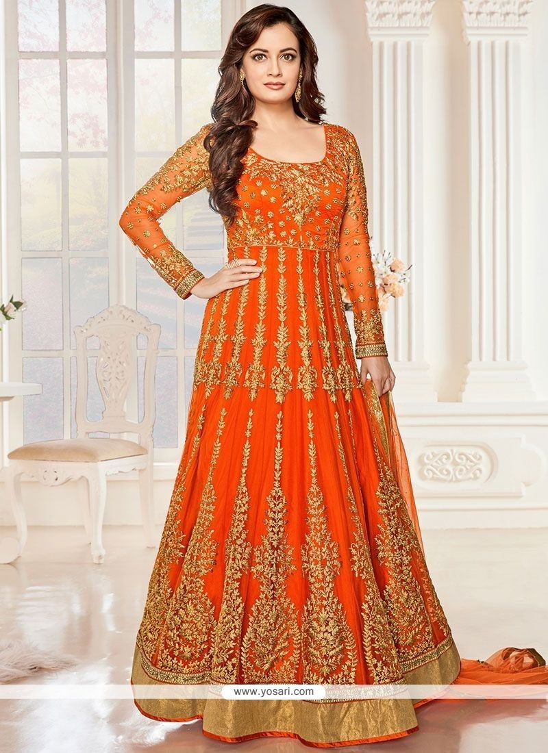 db7c5c41e66 Buy Unique Embroidered Work Orange Net Anarkali Salwar Suit ...