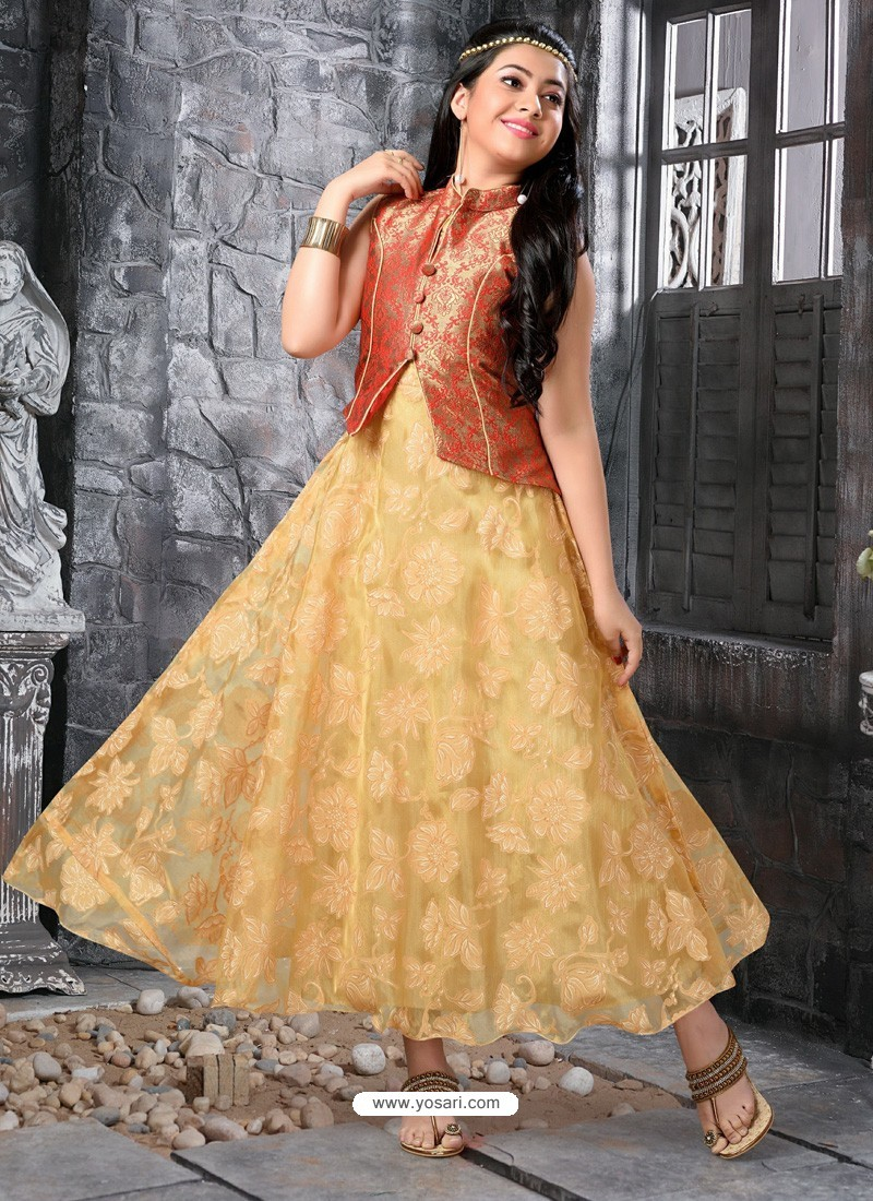 Buy Girls Gold Jacket Style Gown Gown For Girls